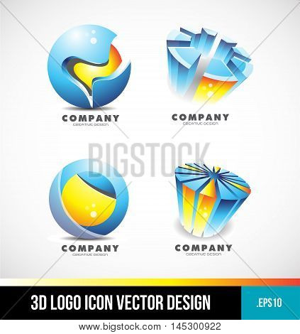 Corporate business blue orange sphere pie chart 3d logo design icon vector company element template