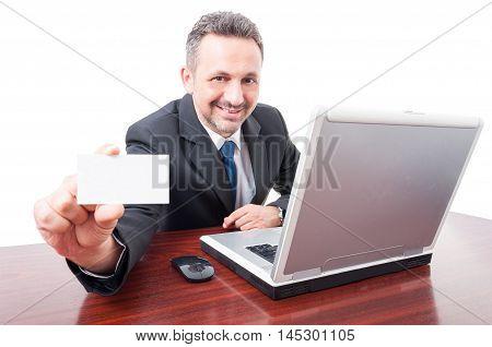 Joyful Businessman Holding Blank Business Card