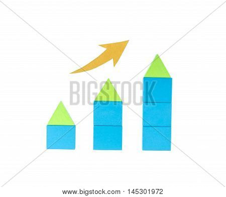 Home mortgage concept with house models. The growth of real estate. Construction of houses.