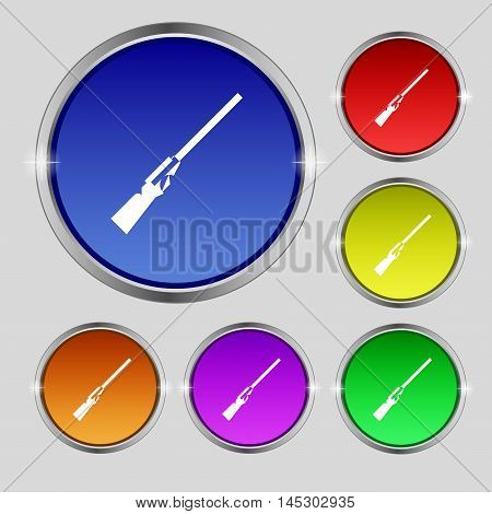 Shotgun Icon Sign. Round Symbol On Bright Colourful Buttons. Vector