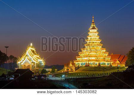 Chinese temple wat huay pla kang at sunset time Chiang Rai Province Thailand