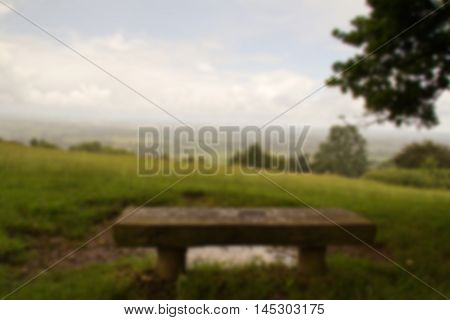 Bench With View Over The Chilterns In Buckinghamshire Out Of Focus.