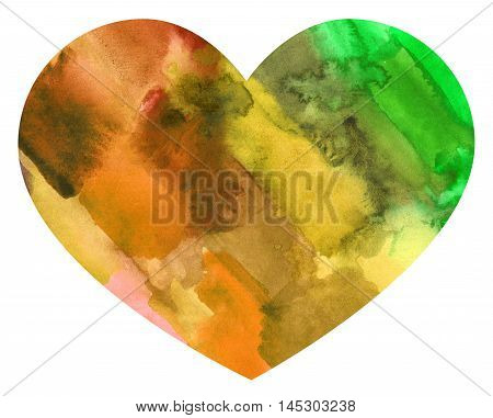 Abstract watercolor colorful heart. Backdrop of paint texture. Splatter paint splash background textures. Made by gouache and watercolor paint. Colorful brush strokes. Warm colors.