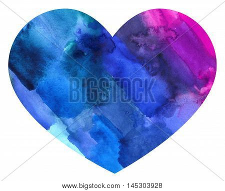 Abstract watercolor colorful heart. Backdrop of paint texture. Splatter paint splash background textures. Made by gouache and watercolor paint. Colorful brush strokes.