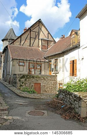 medieval street in town of Aubusson in France