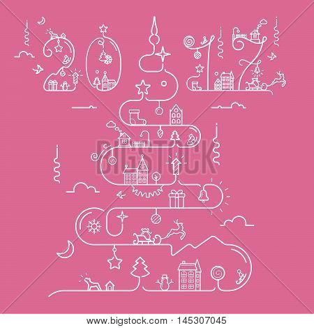 Abstract Christmas tree in line style with 2017 inscription. Christmas, New Year, winter themes. Vector illustration.