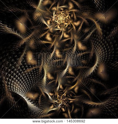 Metal chaos. Abstract fractal on black background. Computer-generated graphics.