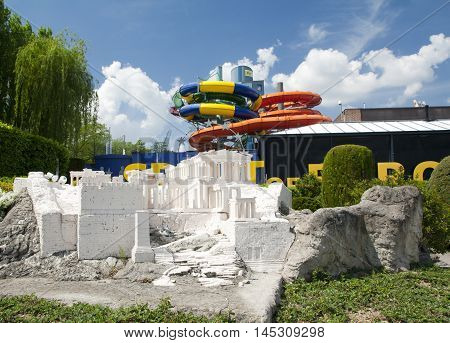 BRUSSELS BELGIUM - 13 MAY 2016: Miniatures at the park Mini-Europe - reproductions of monuments in the European Union at a scale of 1:25. Athens Greece.