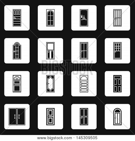 Door icons set in simple style. Front doors with doorframe set collection vector illustration