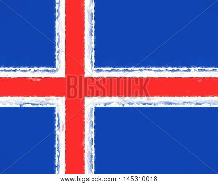 Illustration of the national flag of Iceland with a smudged look