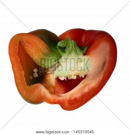Halved red paprika in extreme closeup with white background