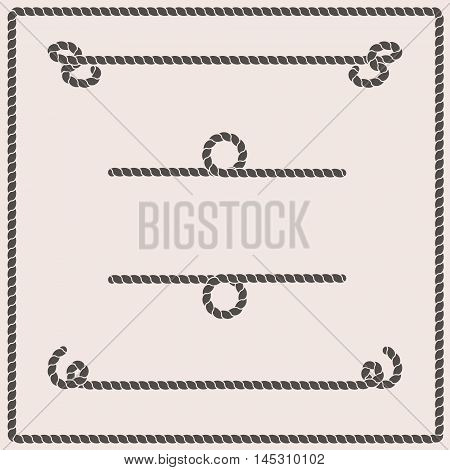 Rope knots collection. Vector illustration. Marine rope knot. Vector Rope. Set of nautical rope knots corners and frames. Decorative elements in nautical style.