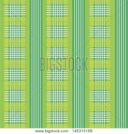 Vector seamless patterns. Green, white and yellow color.Checkered, plaid background. Spring pattern.