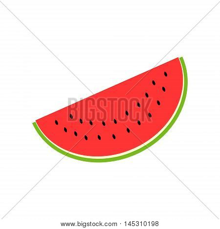 Watermelon icon. Slice of watermelon on white background. Summer fruit. Vector illustration.