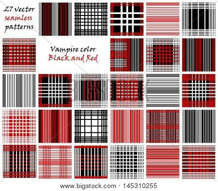 Set of line Vector seamless patterns.Red, white and black background. Checkered, plaid, stripped patterns.