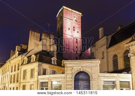 Dijon City Hall at night. Dijon Burgundy France