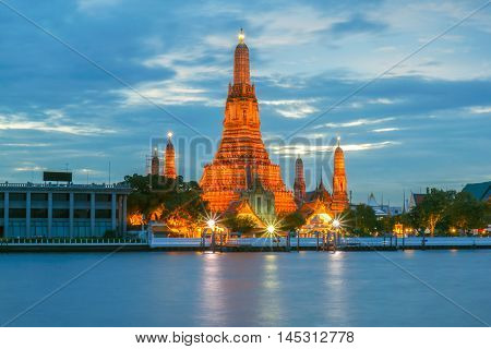 Wat Arun Buddhist religious places in raining day Bangkok Thailand