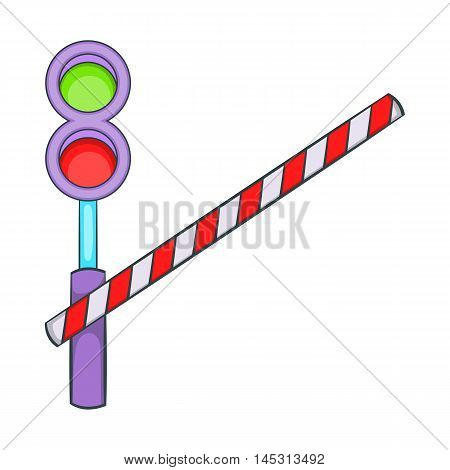 Train barrier icon in cartoon style isolated on white background. Fence symbol