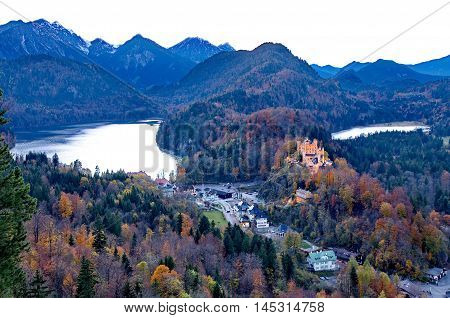 Castle of Hohenschwangau in Germany on an autumn day