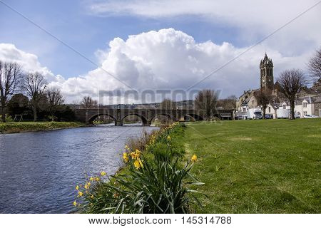 Scottish Borders town of Peebles with spring daffodils and old stone bridge over the River Tweed