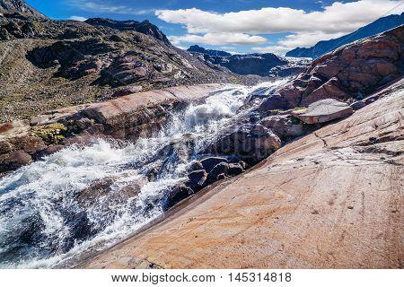 View Of The Sulzenauferner Glacier In Stubai Alps
