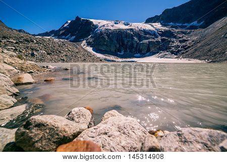View Of The Sulzenauferner Glacier And Lake In Stubai Alps