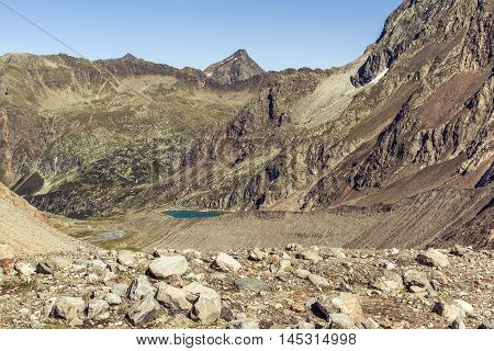 View Of The Of The Blue Lake In Stubai Alps