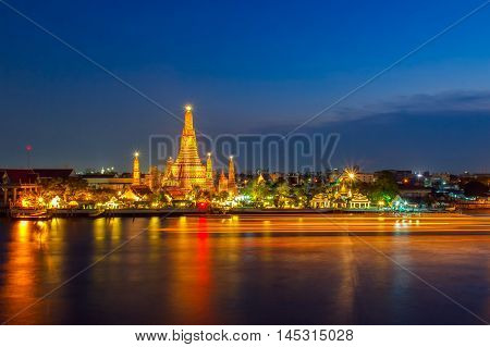 Wat Arun Buddhist religious places in night time Bangkok Thailand