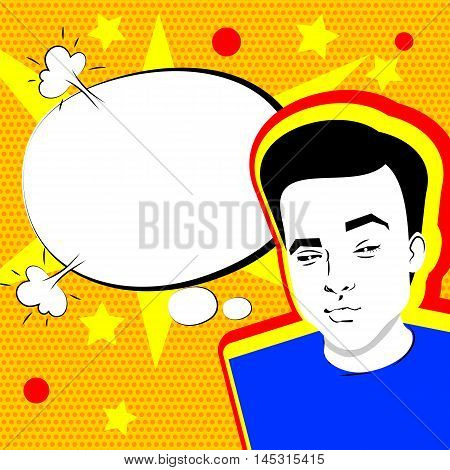 Youth contemporary modern style illustration pop art. Attractive daring young man makes selfie duck face yellow background and speech bubble dot pattern template.