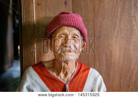 MAE KAM PONG MAEHONGSON THAILAND - October 10 : unidentified man Karen hill tribe is smiling in the cottage of northern Thailand on October 10 2015 in Maehongson Thailand.