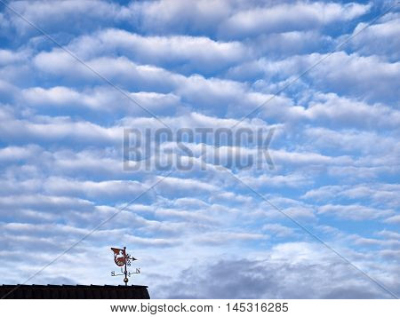 Weather vane on a roof on a cloudy morning
