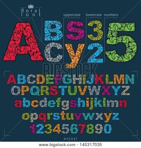 Set of vector ornate letters and numbers flower-patterned typescript. Colorful characters created using herbal texture.