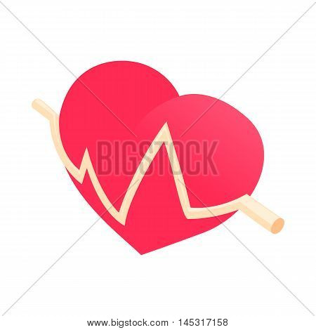 Heartbeat icon in cartoon style isolated on white background. Health symbol
