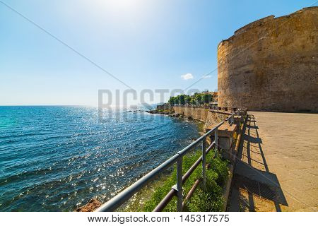 historic tower in Alghero seafront in Sardinia