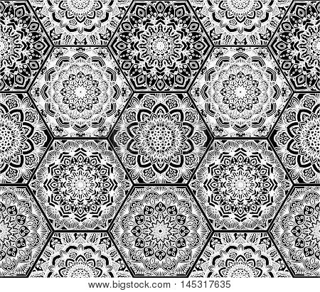 Hex Boho Pattern. Seamless flower ornament from floral design elements. Honey comb tiles background. Lace hexagon wallpaper, gift paper, fabric print, fashion textile, furniture. Unusual vector.