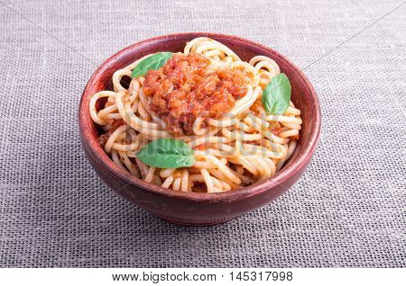 Small Portion Of Cooked Spaghetti With Tomato Relish Closeup
