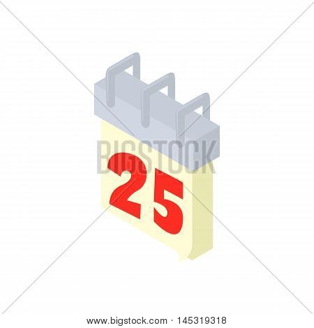 Calendar 25th icon in cartoon style isolated on white background. New year symbol