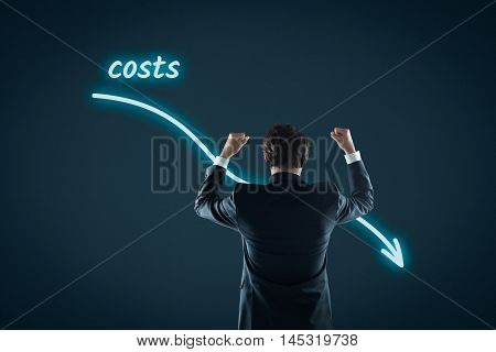 Costs reduction costs cut costs optimization business concept. Businessman celebrate reduced costs.