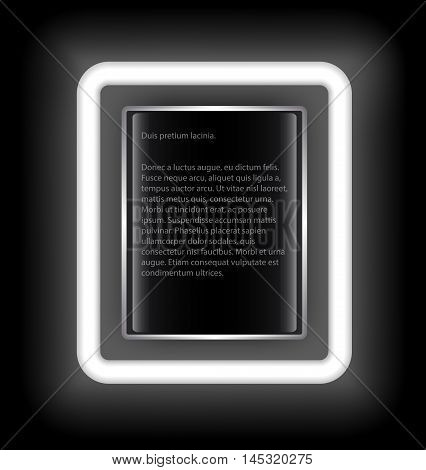 Glowing rectangular frame with space for text on a black background. White light.