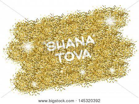 Rosh Hashanah Jewish New Year greeting card. Hebrew text Happy New Year Shana Tova . Golden background. Vector illustration