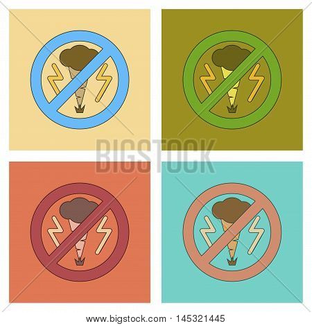 assembly of flat icons nature disaster tornado, vector