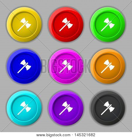 Battle Axe Icon Sign. Symbol On Nine Round Colourful Buttons. Vector