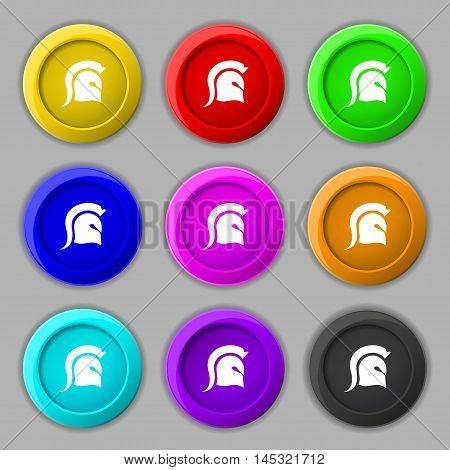 Spartan Helmet Icon Sign. Symbol On Nine Round Colourful Buttons. Vector