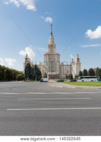 Moscow - August 11 2016: Moscow State University named after Lomonosov at Vorobyovy Gory view of the main facade of the August 11 2016 Moscow Russia