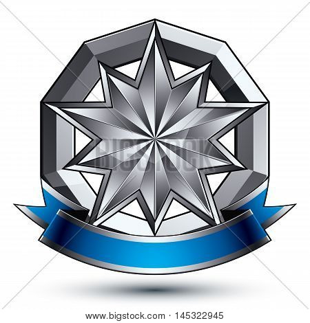 Vector classic emblem isolated on white background. Aristocratic badge with silver star and blue and gray ribbon