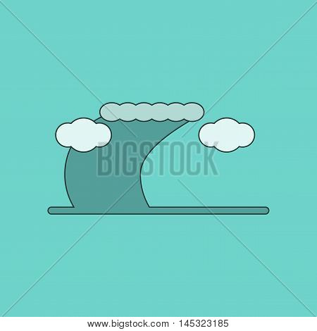 flat icon on stylish background ocean tsunami, vector