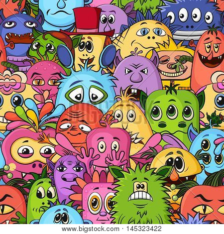 Seamless Background for your Design with Different Cartoon Monsters, Colorful Tile Pattern with Cute Funny Characters. Vector