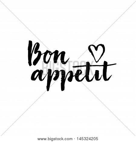 Bon Appetit Card. Hand Drawn Lettering.