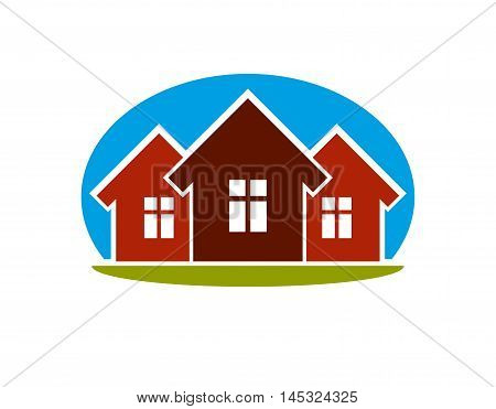 District conceptual vector illustration three simple houses. Houses art picture real estate theme.