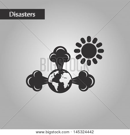 black and white style nature earth greenhouse effect, vector